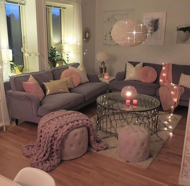 grey and pink  apartment living room design living room