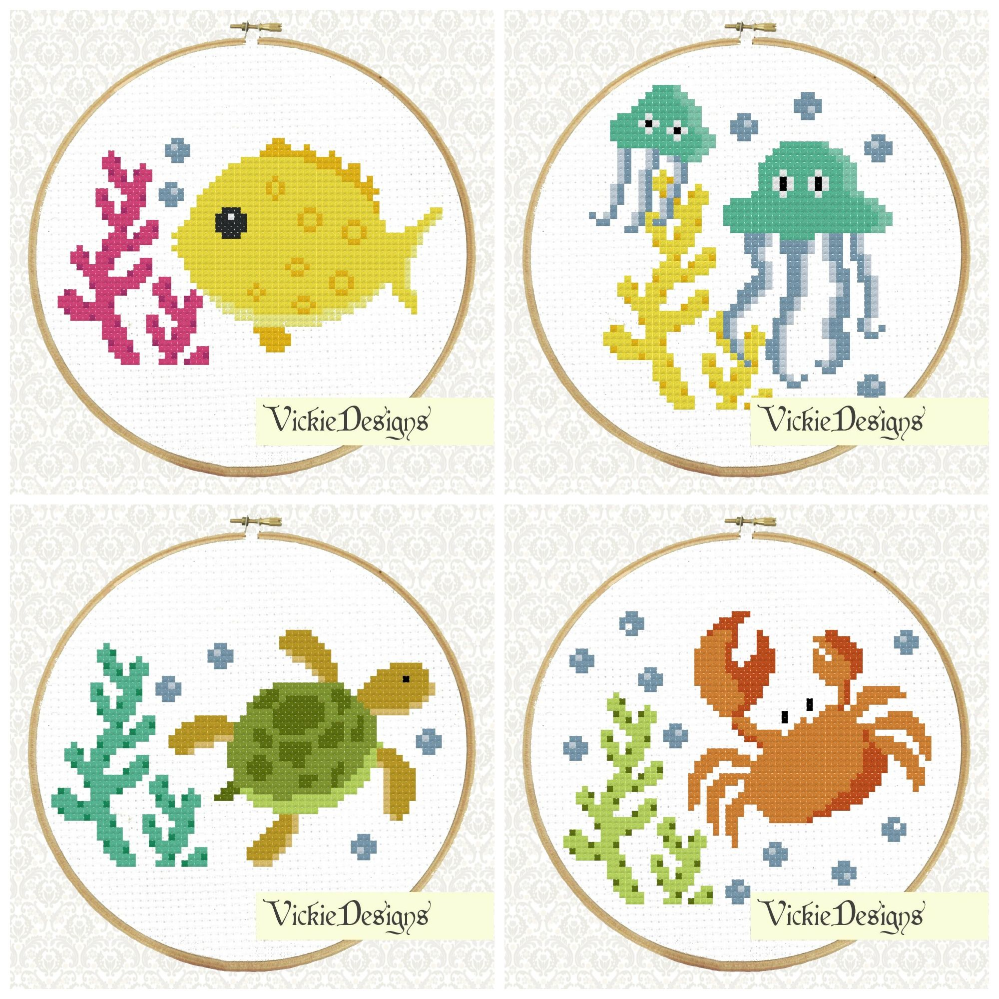 Fish /& Tree 2 x Beginners Child Cross Stitch