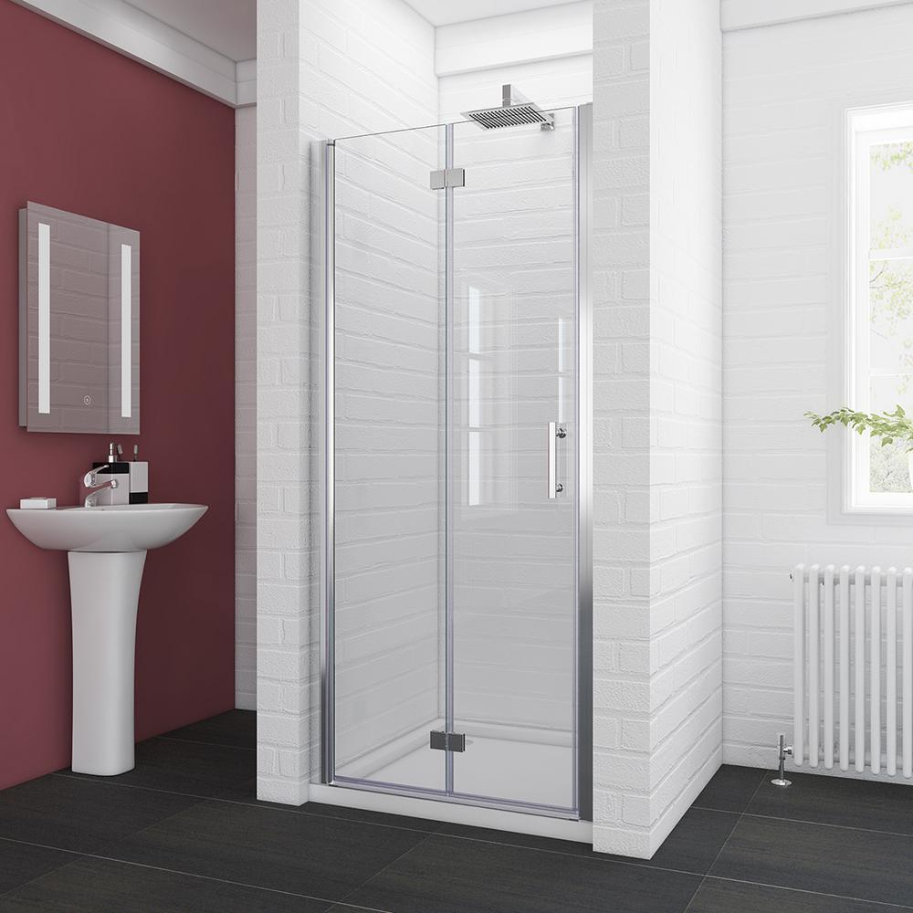 Boyel Living 34 In W Semi Frameless Bi Fold Shower Door Clear