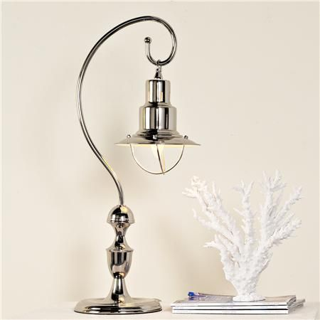 Nautical Lantern Table Lamp A Nautical Style Lantern Hangs From A Hooked Pole Creating A Table Lamp Tha Lantern