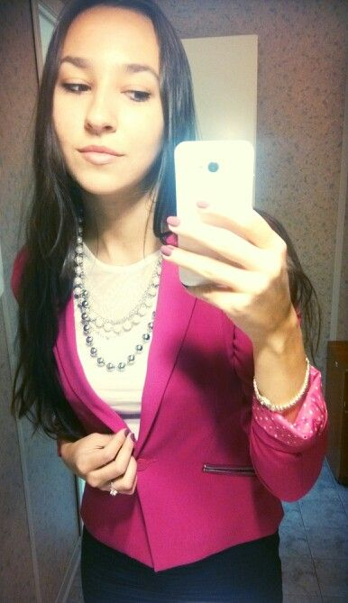 Fuchsia blazer - Bershka, Ribbed Navy Skirt - Mango, White Lace Top - H&M, Perl Necklace - Lady Collection   Cute and Pretty Work Suit