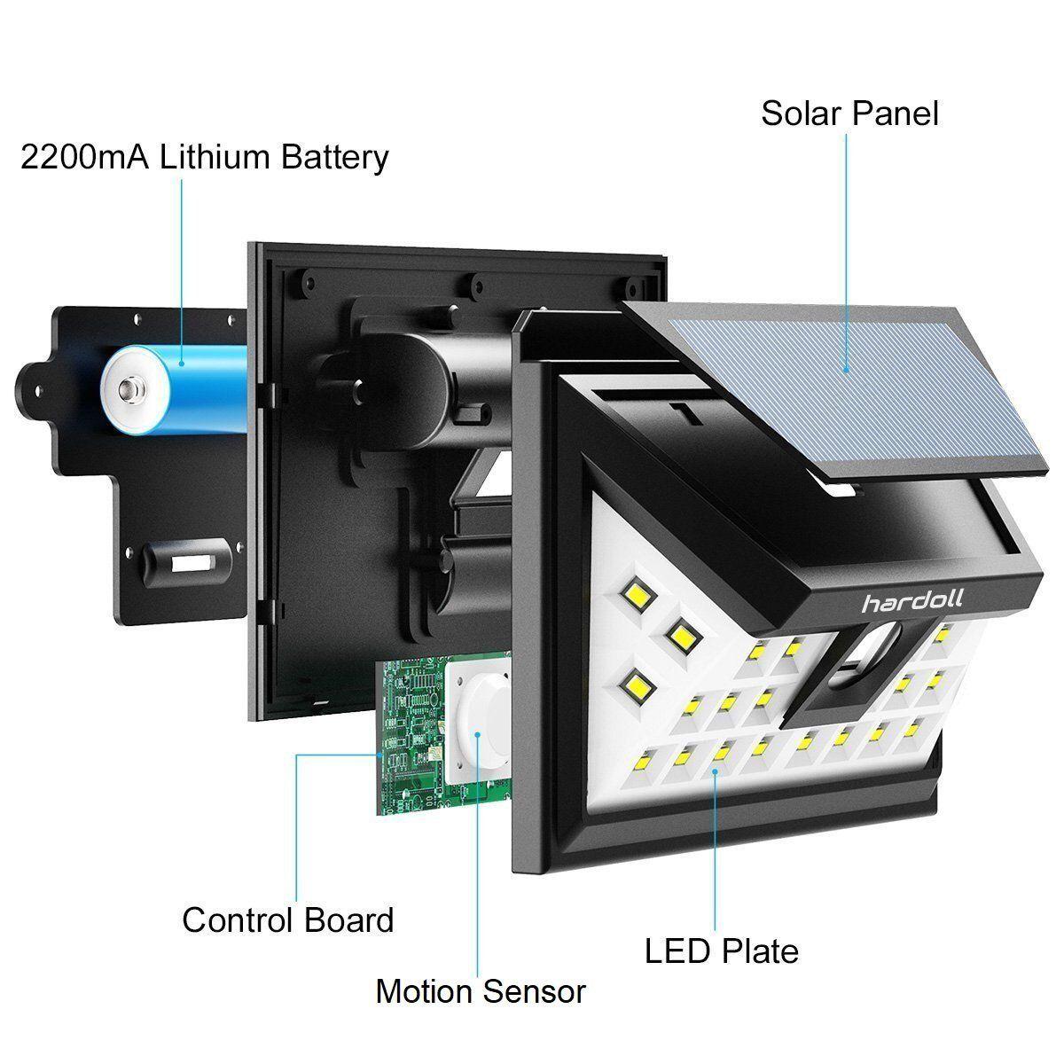 Hardoll 24 Led Solar Lights Wide Angle Outdoor Motion Sensor With 3 Leds Solar Lights Solar Powered Lights Wide Angle