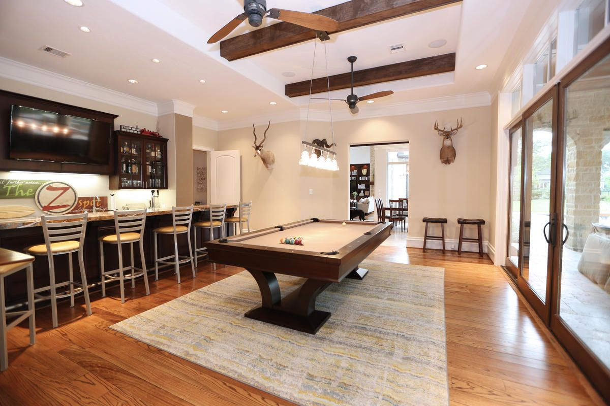 Great basement idea sans the dead animals hanging on wall.