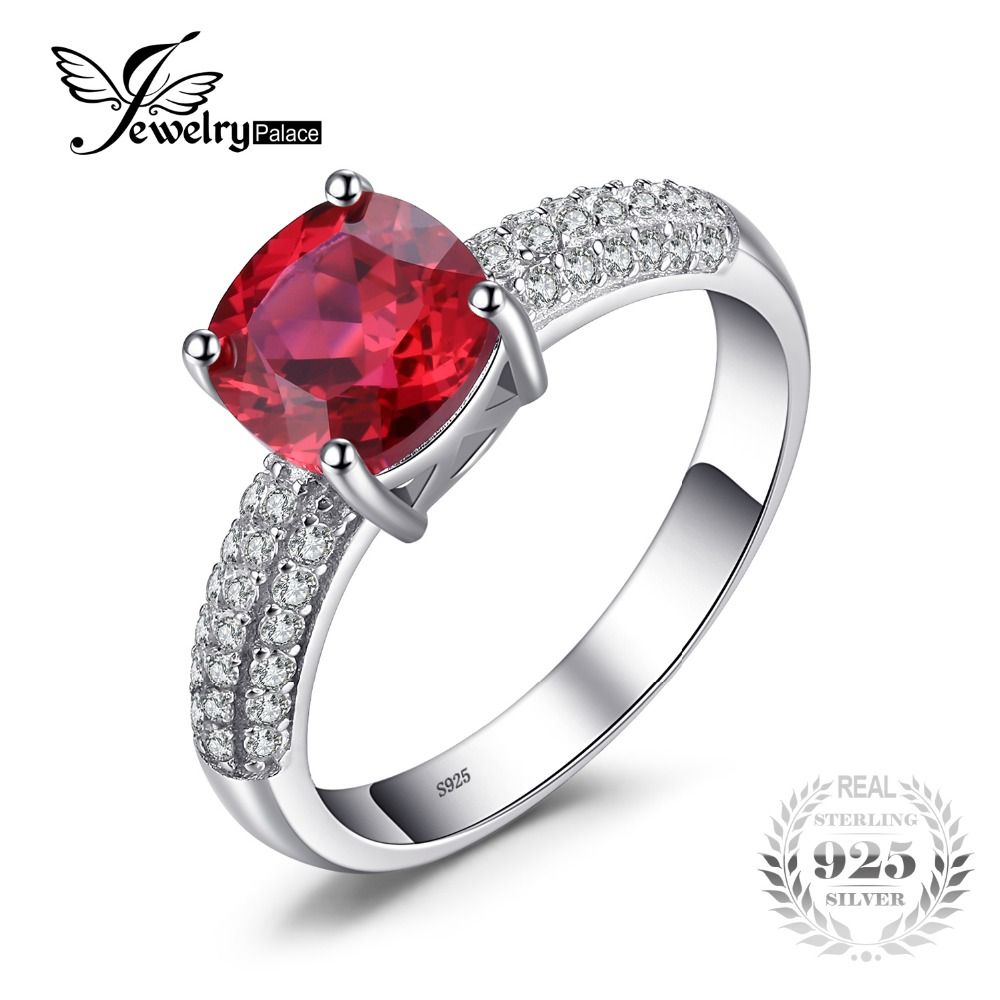 2aa74ccfdeb6 Jewelrypalace cojín 2.6ct creado red solitario anillo de compromiso de rubí 925  anillo de plata de diseño de moda de joyería fina Brillo Diamante