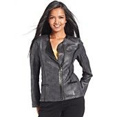 Style&co.+Jacket,+Collarless+Coated+Faux-Leather+Trim