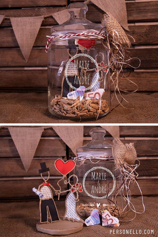 Diy Geschenk Keksglas Mit Geldgeschenk Mit Namen Des Brautpaars Und Schicken Designvorlagen Hochzeit Geschenk Geld Geschenke Hochzeitsgeschenk Geld Verpacken