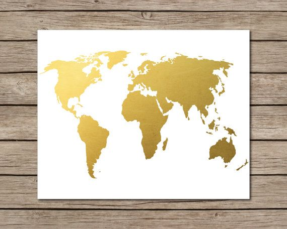 World Map Printable - INSTANT DOWNLOAD Printable - gold world map - best of world map white background