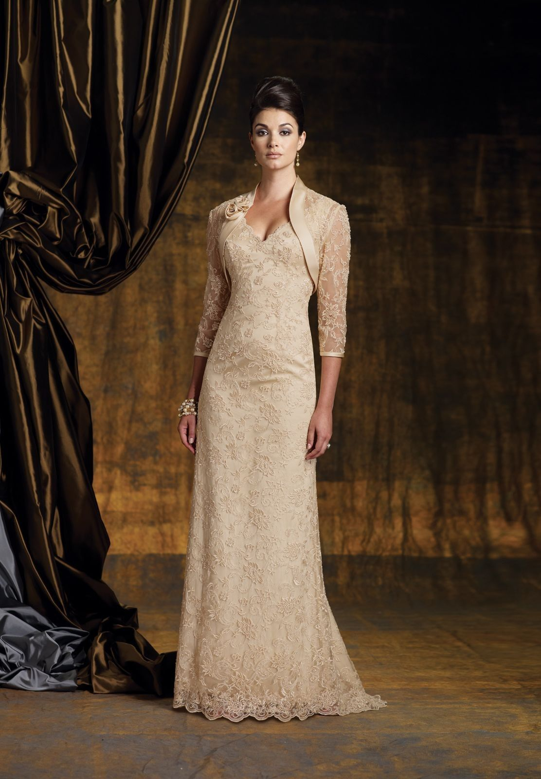 The Mother of Bride Dresses with Long Lace Jacket