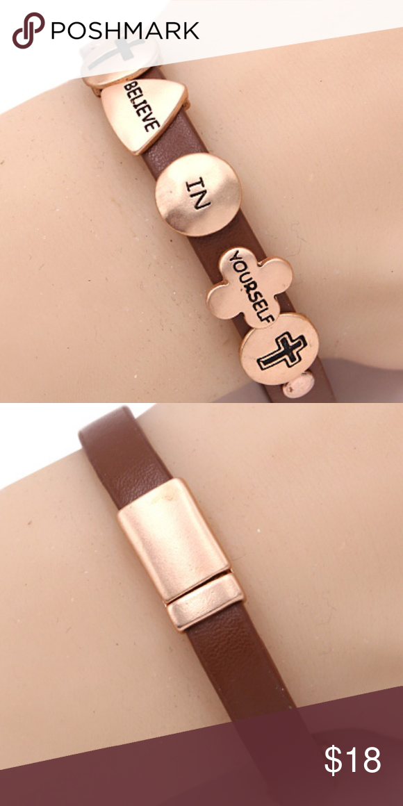 Believe In Yourself Magnetic Bracelet Description Faux Leather Nickel And Lead Safe Brown Matte Rose Gold Tone