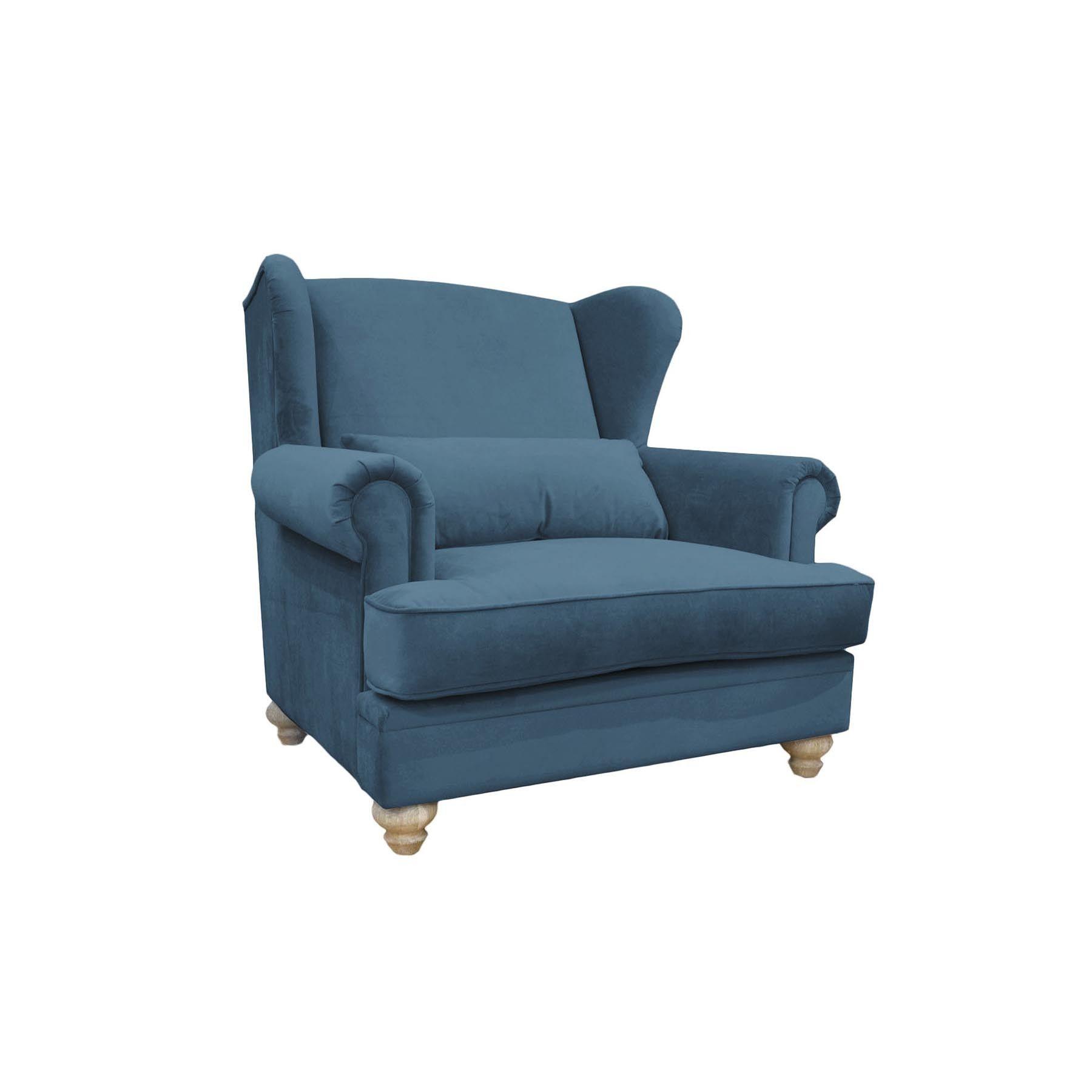 Chelsea 112cm Stylowy Fotel Uszak W Odcieniach Niebieskiego