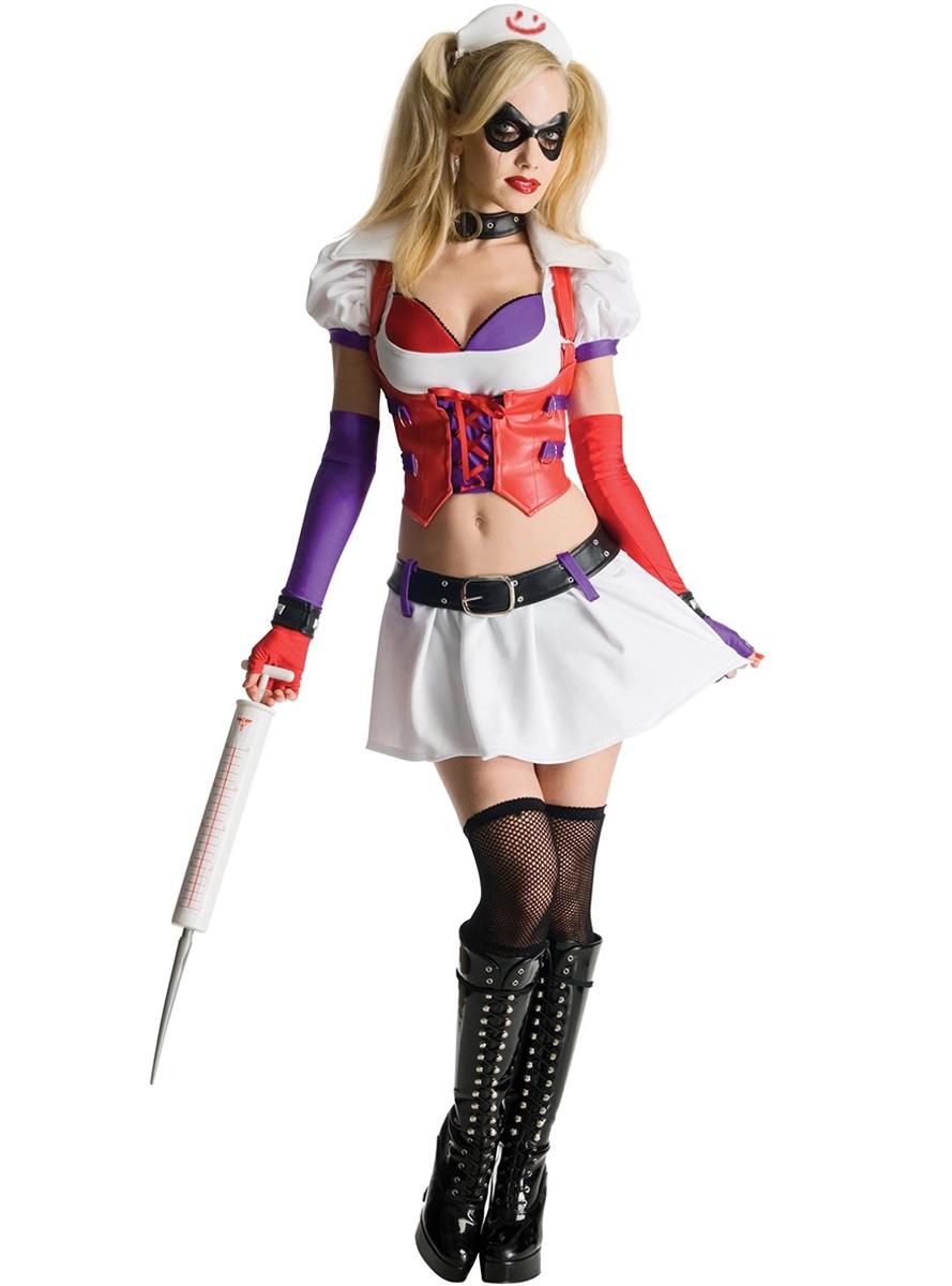 Harley Quinn Batman Superhero Villain Womens Fancy Dress Costume Adult