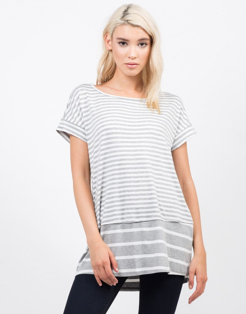 92d55c4b7 Oversized Striped Tee - Stripe T Shirt - Womens Tops – Tops – 2020AVE