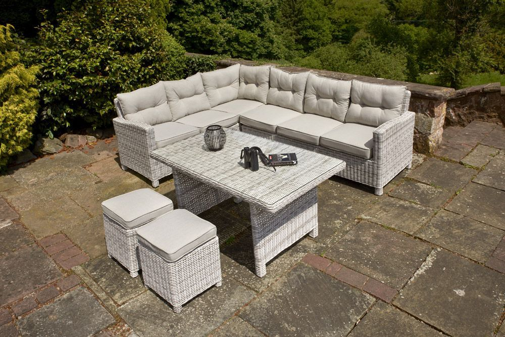 Ledbury Five Piece Rattan Corner Set In Two Tone Finish This Five Piece Rattan Corner Set Is An Example Of How Stylishly Contempor Contemporary Garden Furniture Wooden Garden Furniture Metal Garden Furniture