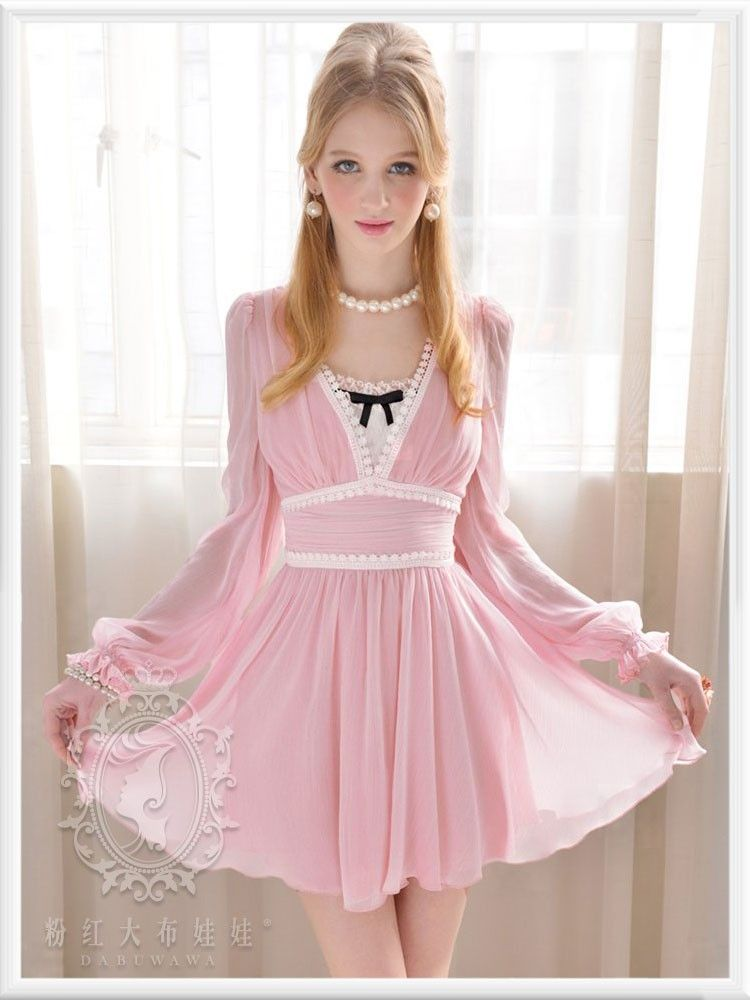 Mango Doll - Pink V-Neck Chiffon Dress, $59.99 (http://www.mangodoll ...