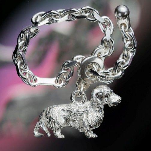Rauhaardackel - Schlüsselkette aus Silber
