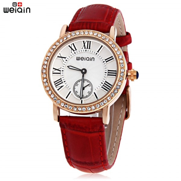 15.29$  Buy now - http://dig85.justgood.pw/go.php?t=185480403 - WeiQin W4812E Female Quartz Watch Luminous Artificial Diamond Dial Genuine Leather Band Water Resistance Wristwatch 15.29$