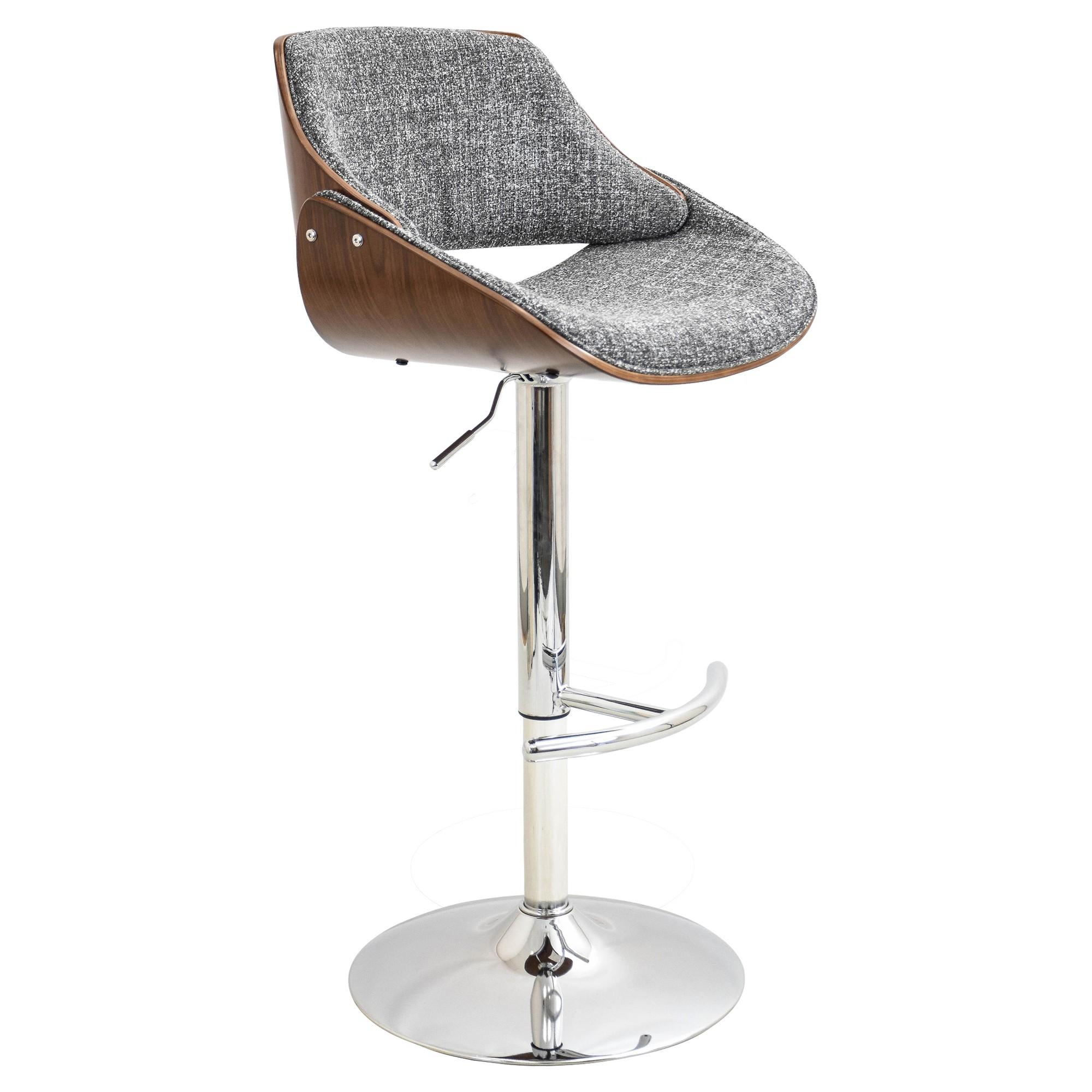 719f1f02d1fb Fabrizi Mid-Century Modern Adjustable Barstool - Gray - LumiSource ...