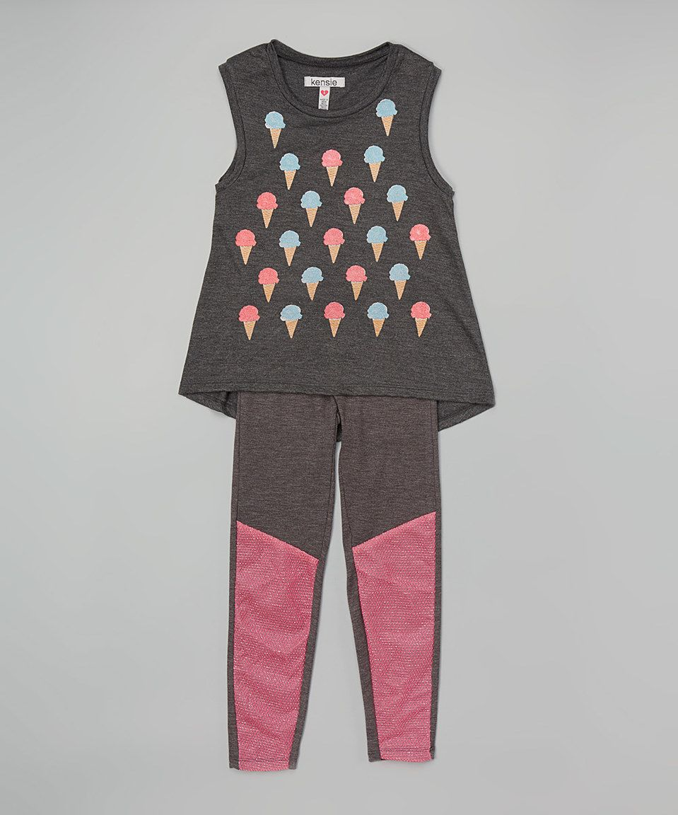 Another great find on #zulily! Charcoal Heather Tank & Leggings Set - Toddler & Girls by kensie #zulilyfinds