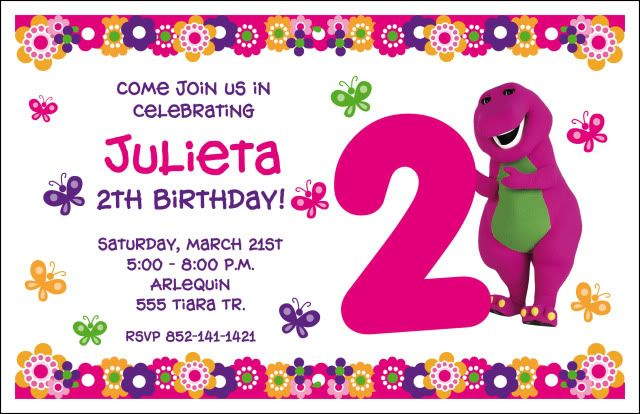 barney party invitation template