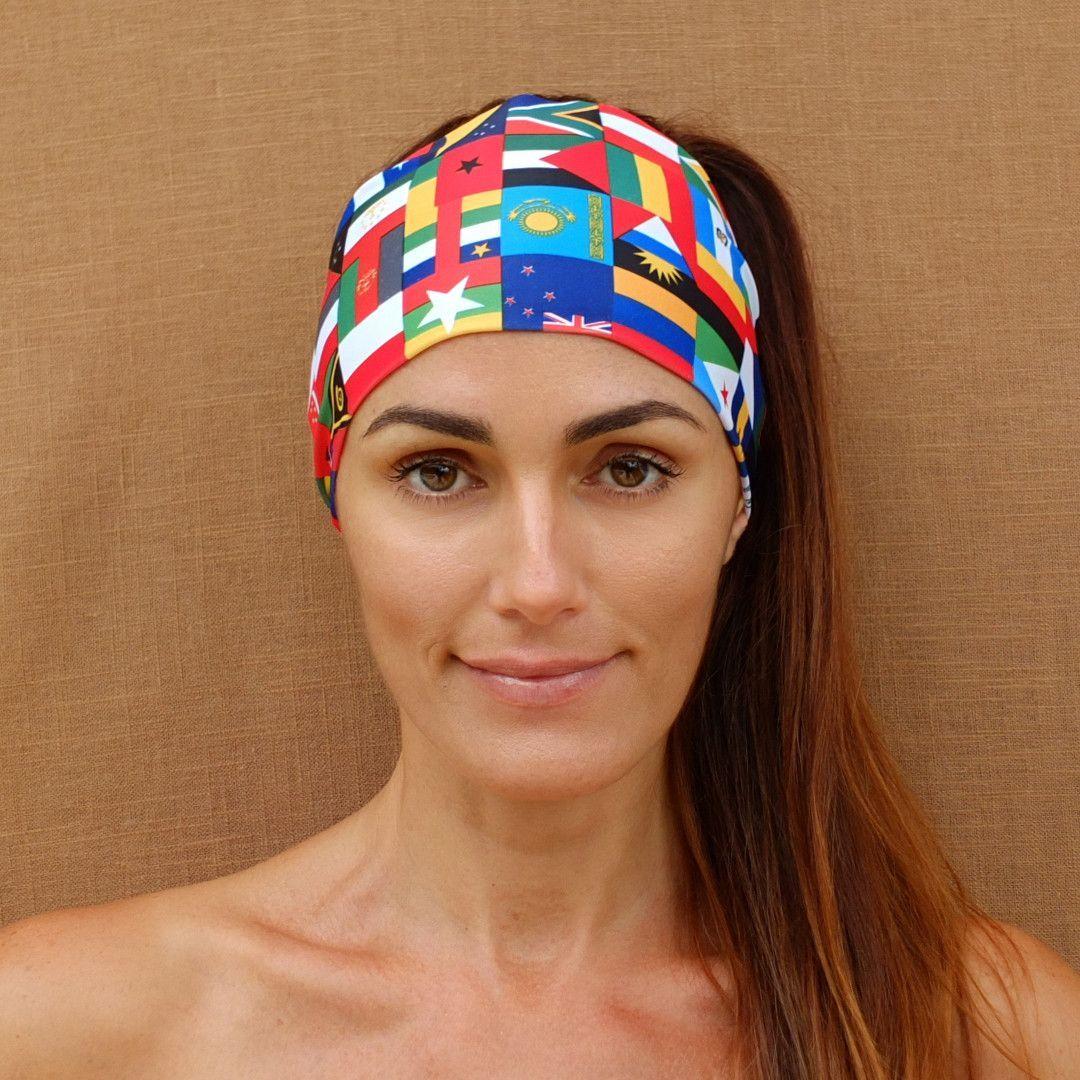 Red International Flags Non Slip Boho Wide Workout Headband