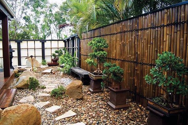 Japanese Style Garden Bamboo Fence, Plants On Pedestal, Rock Ground Cover,  Large Rocks