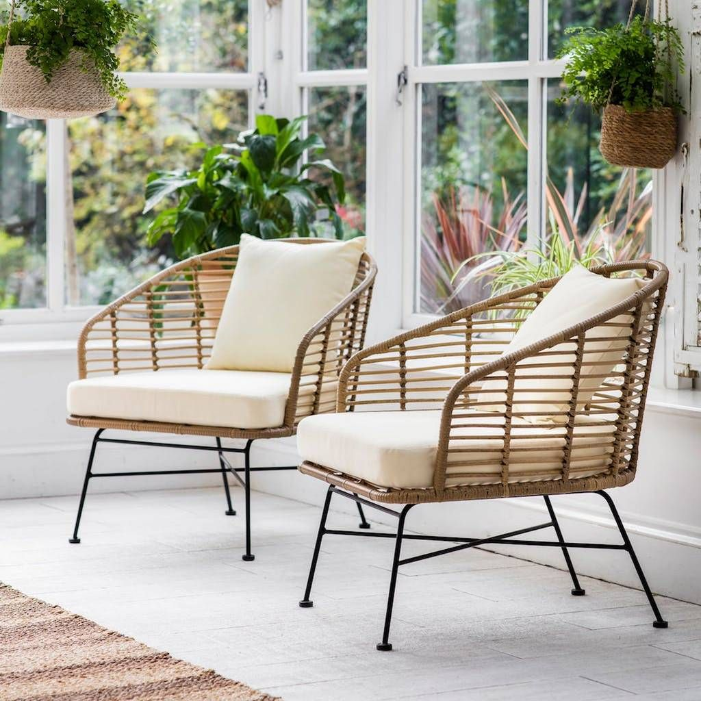 Bamboo Lounge Chair Set Of Two Outdoor Armchair Garden Chairs Outdoor Dining Chairs