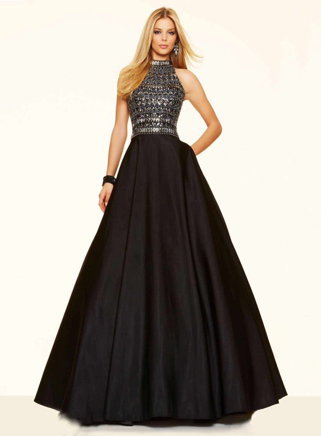 Sexy Backless High Neck A-Line Beading Sleeveless Long Prom Dress ...