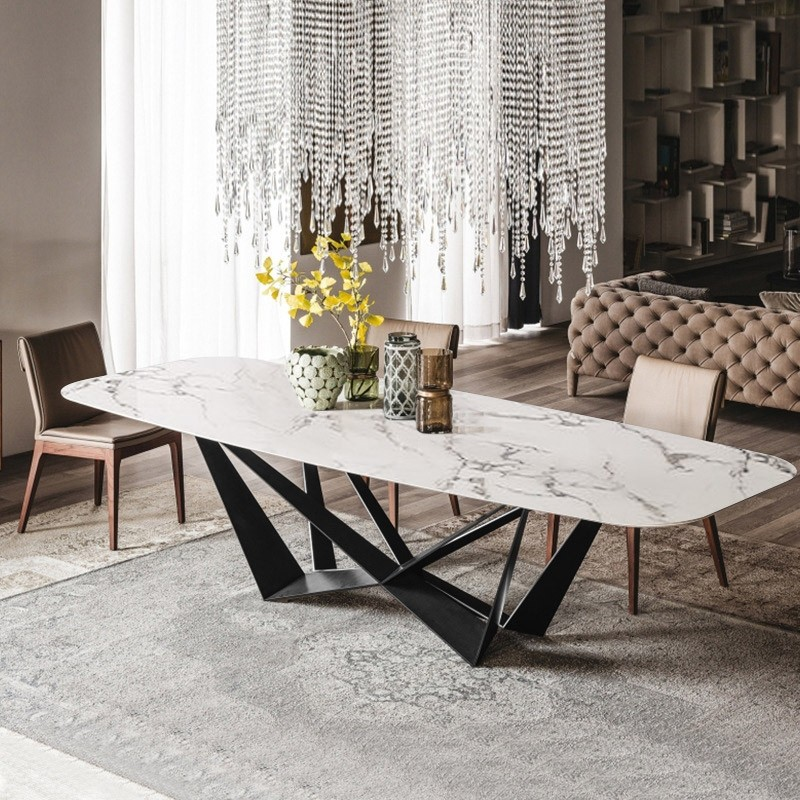 Modern Stylish Rectangle White Faux Marble Top Dining Table With Black Metal Base In Small Medium Large Dining Table Marble Marble Top Dining Table Dining Table