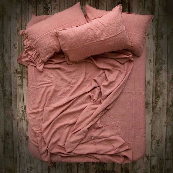 Linen Sheet Set 100 Pure Stone Washed Dusty Rose By Lenoklinencom Linen Sheet Sets Pure Linen Bedding Dusty Rose Bedding