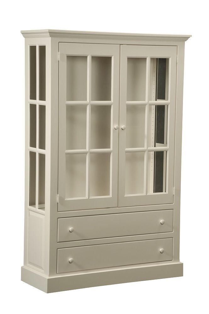 Amish Kitchen Pantry Curio Cape Cod Sideboard China Cabinet Jelly Cupboard White Newhickorywhole Cottage