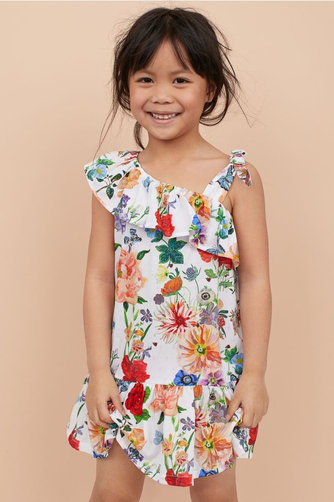 32ac8c1ba10 Flounced Dress - White floral - Kids