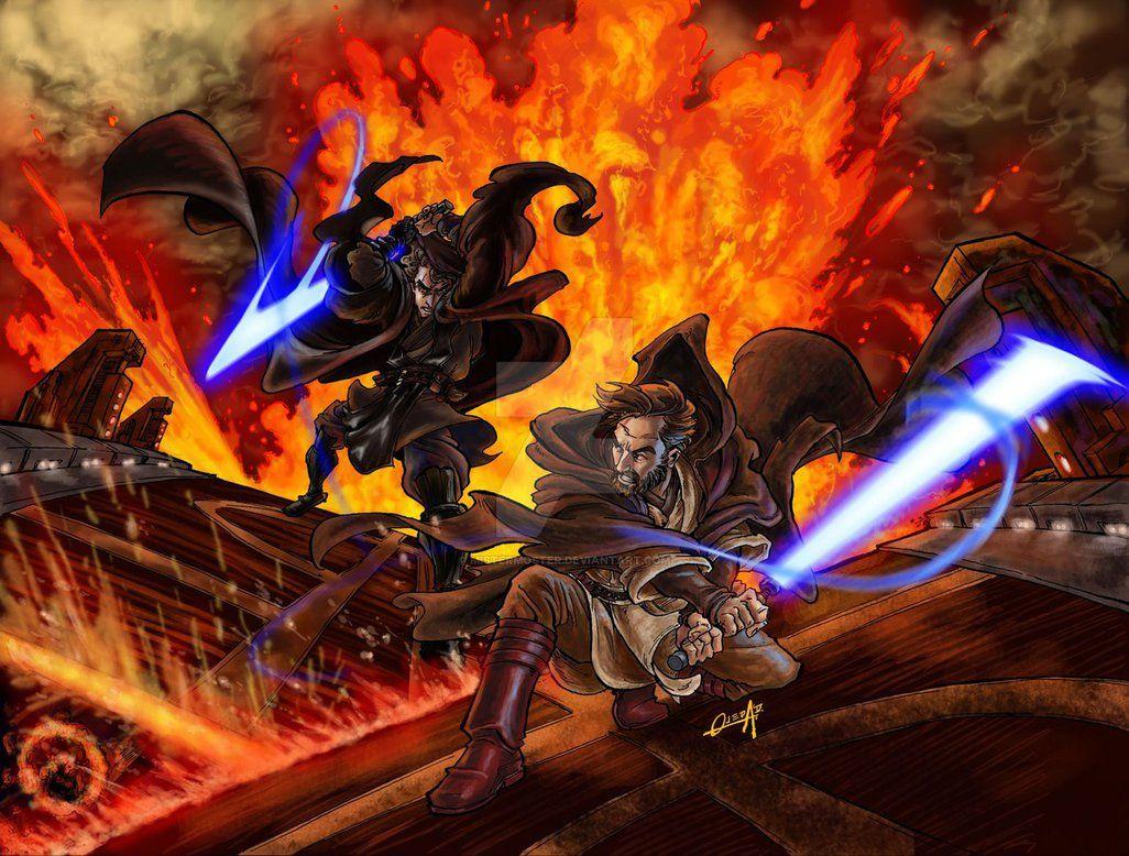 Obi Wan Vs Anakin By Mistermoster Star Wars Fan Art Star Wars Poster Star Wars Art