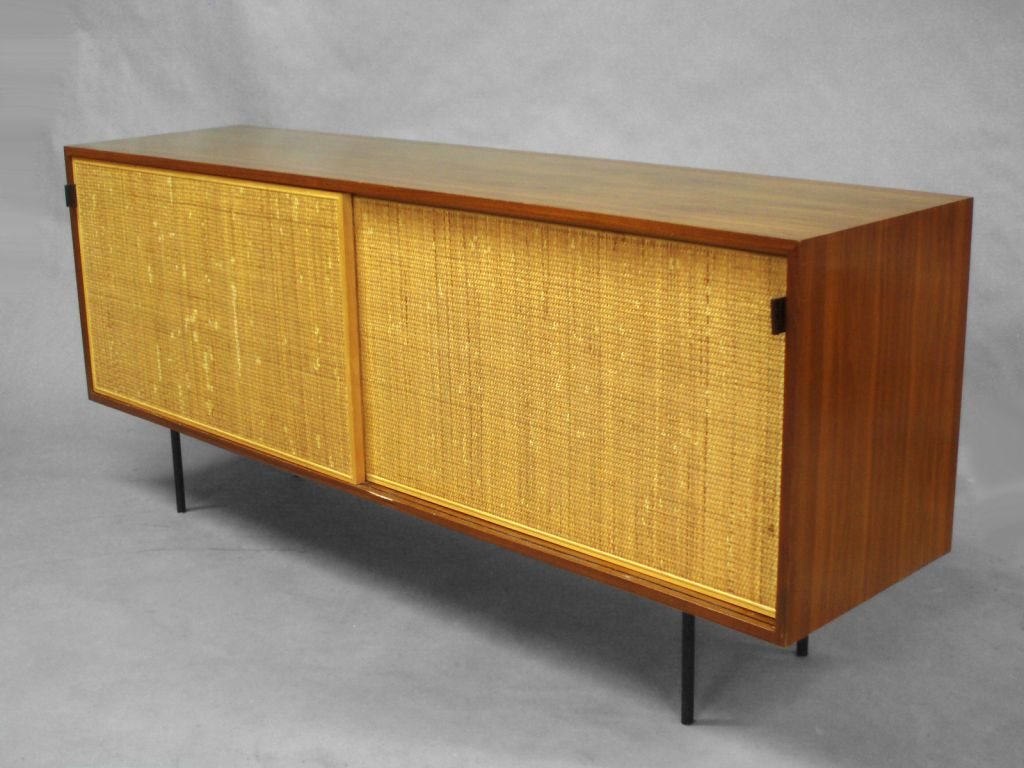 sliding cane door walnut credenza by florence knoll  florence  - sliding cane door walnut credenza by florence knoll