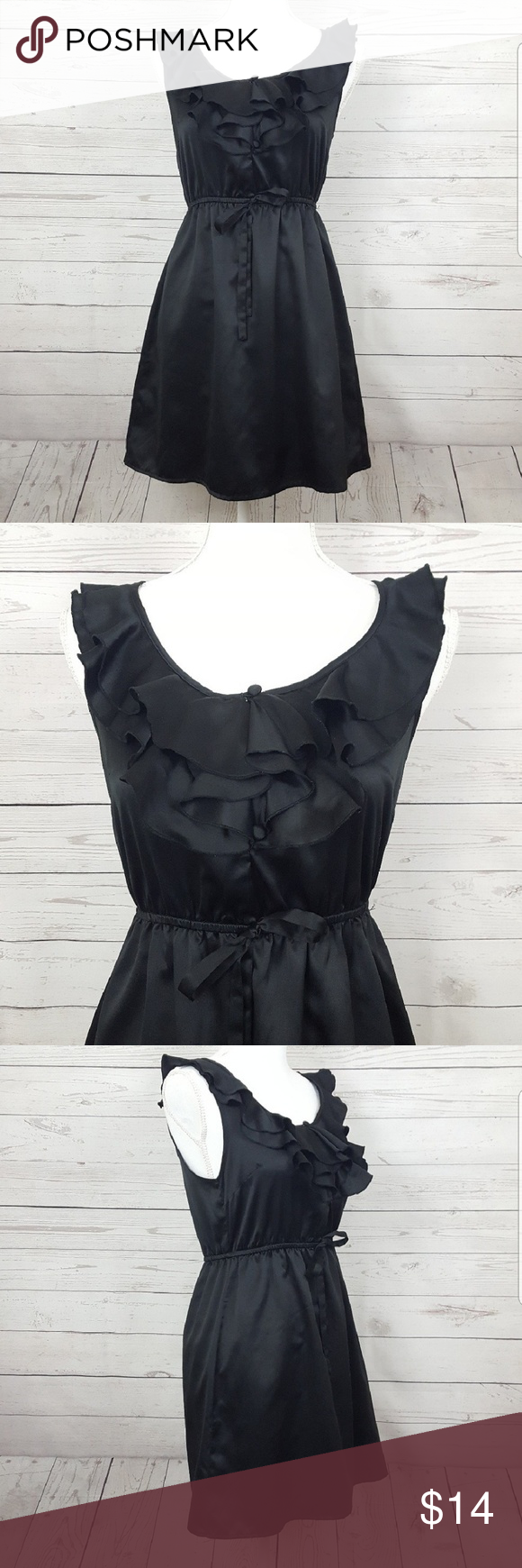 F21 Black Dress With Ruffled Chest Forever 21 Essentials Little Black Dress With Ruffles Along The Neckline In Excellent Dresses Black Satin Dress Black Dress [ 1740 x 580 Pixel ]