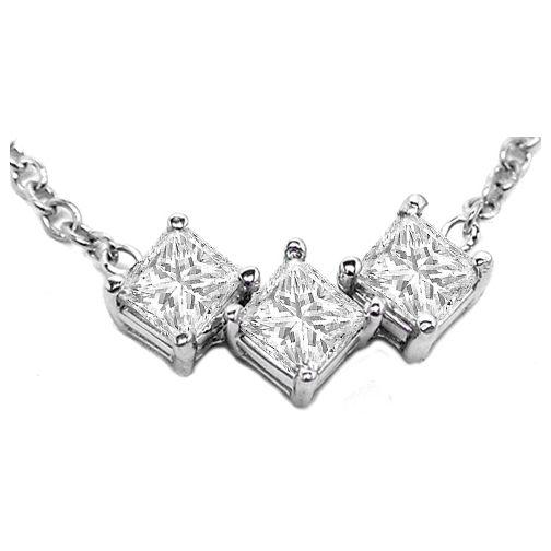 3 stone princess cut diamond necklace one carat tw in 14 karat 3 stone princess cut diamond necklace one carat tw in 14 karat white gold aloadofball Images
