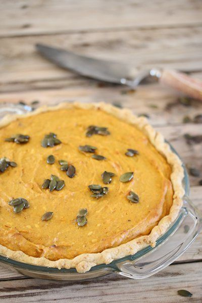 Pumpkin pie with candied pumpkin seeds