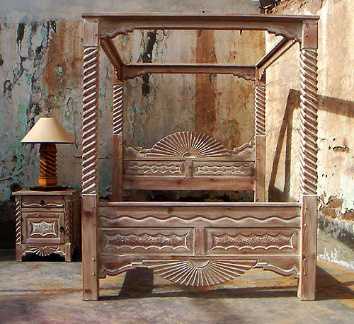 Aurora special queen size canopy bed adobe stain cream - Southwest style bedroom furniture ...