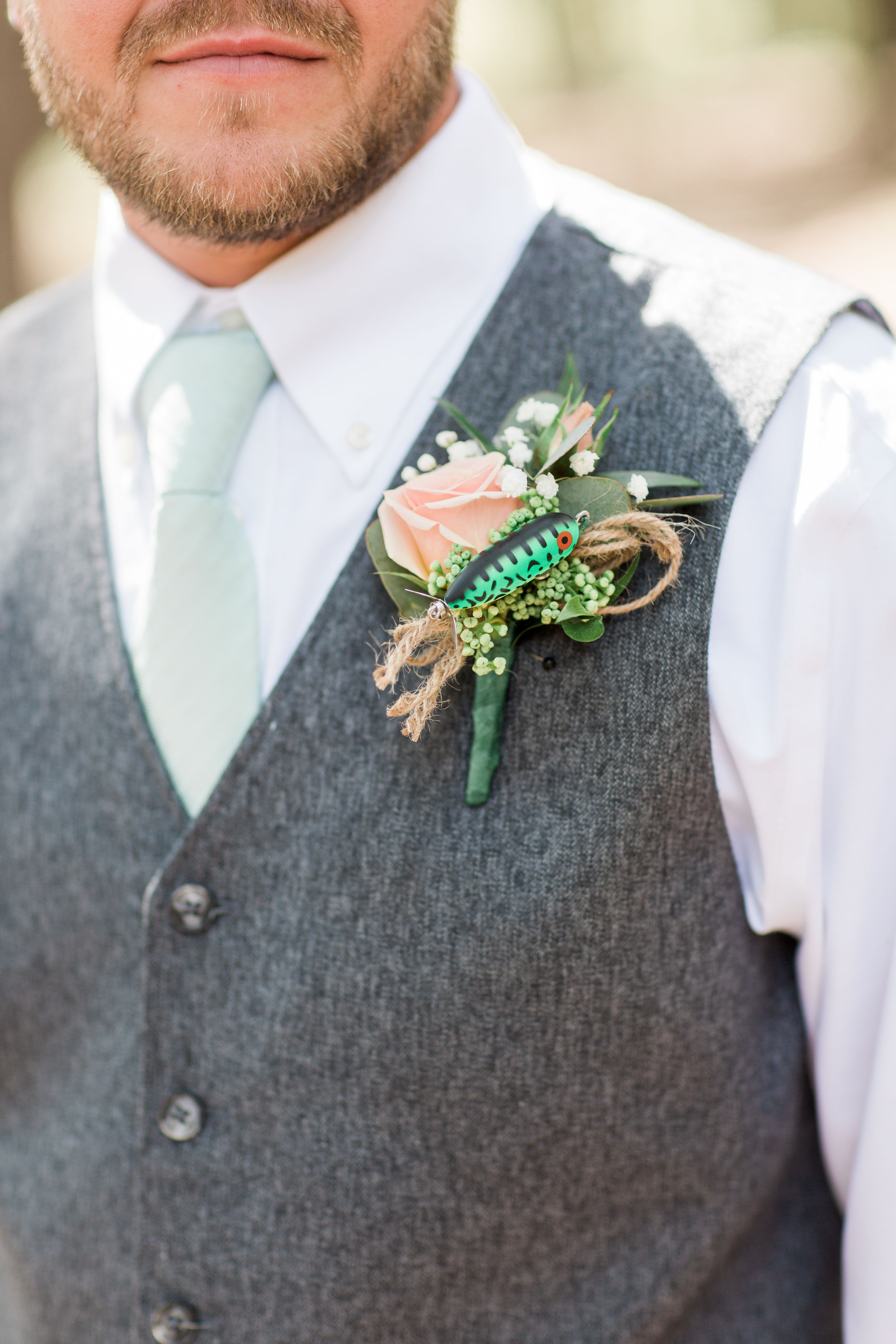 Ringbearer Boutonniere of Ice Beads