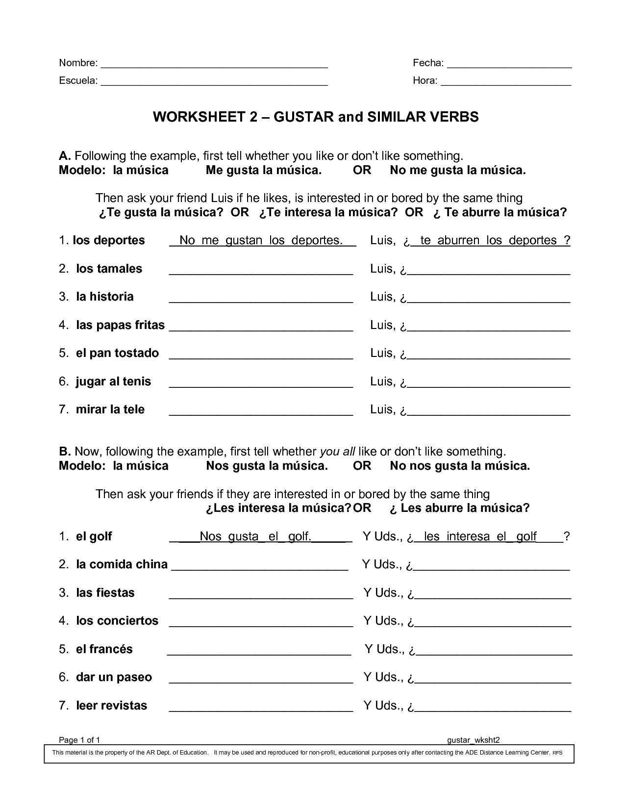 Worksheet 2 Gustar And Similar Verbs Pdf Gramatica