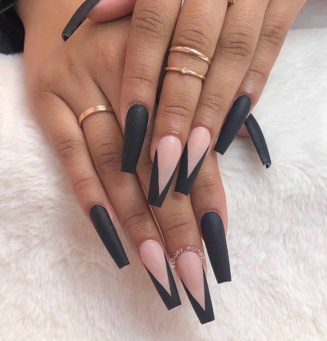 Shuey Cortez On Instagram V Tips Vtipnails Blacknails Matteblacknails Matteblack Coffinnai Coffin Nails Long Nail Designs Black Acrylic Nails