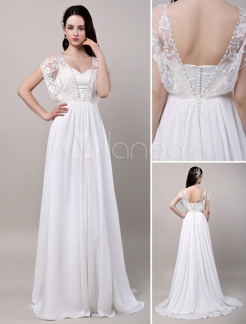 Boho wedding dress sweatheart butterfly lace sleeves chiffon my