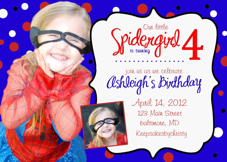 Custom Birthday Invitation... Birthday Party spiderman spider girl ...