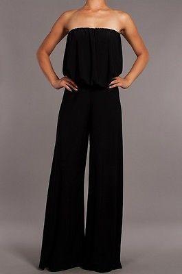 0f8719950 Women Sexy Elegant Strapless Wide Leg Long Palazzo Pants Suit Dress  Jumpsuit