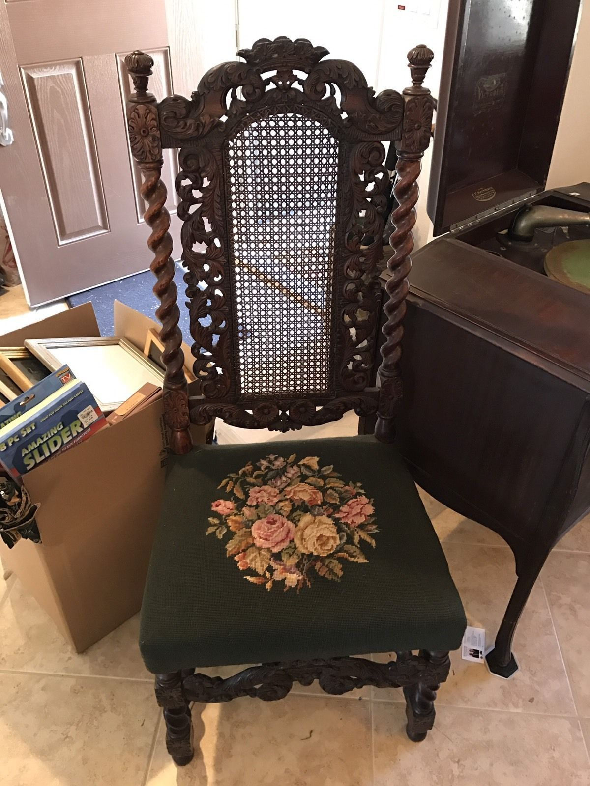 Antique Wood Cane Back Spindle Design & Needle Point Floral Cushion Chair |  eBay - Antique Wood Cane Spindle Design & Needle Point Floral Chair Twist