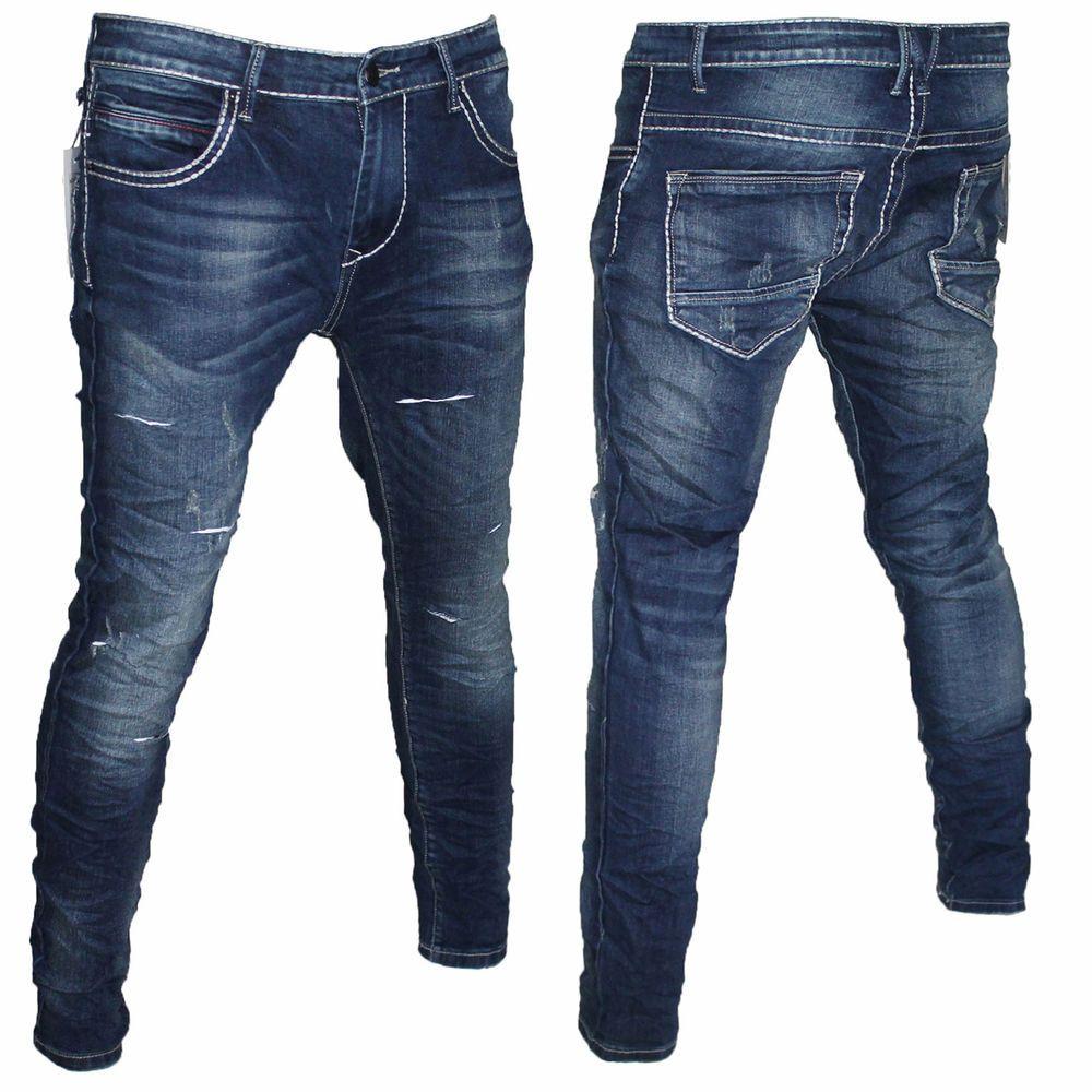 4ea5cb7056 Dettagli su Jeans Pantalone Uomo Strappato Vita Bassa Slim Fit Denim ...