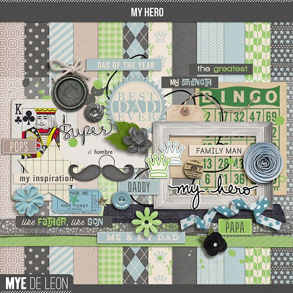 My Hero   Full Kit $7.00  Digital Scrapbook kit to reminisce and celebrate Father's Day. Document the event with My Hero, a clean eclectic c...