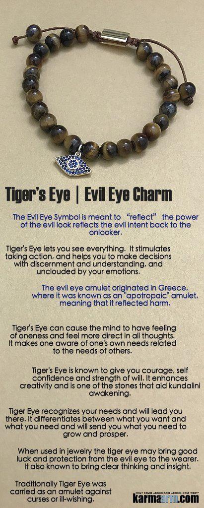 Protected Tiger S Eye Evil Eye Charm Yoga Chakra Bracelet
