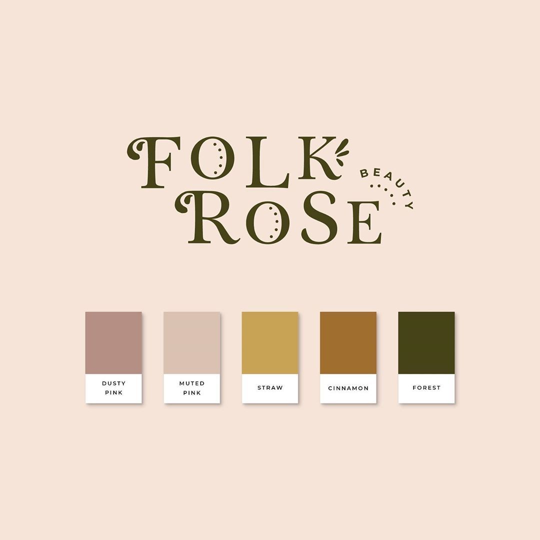 "Meg 🌸 Brand stylist & designer on Instagram: ""Here is the type based logo and colour palette for Folk Rose Beauty 🌸 . The base font I used here is called Tryst and I added all the…"""