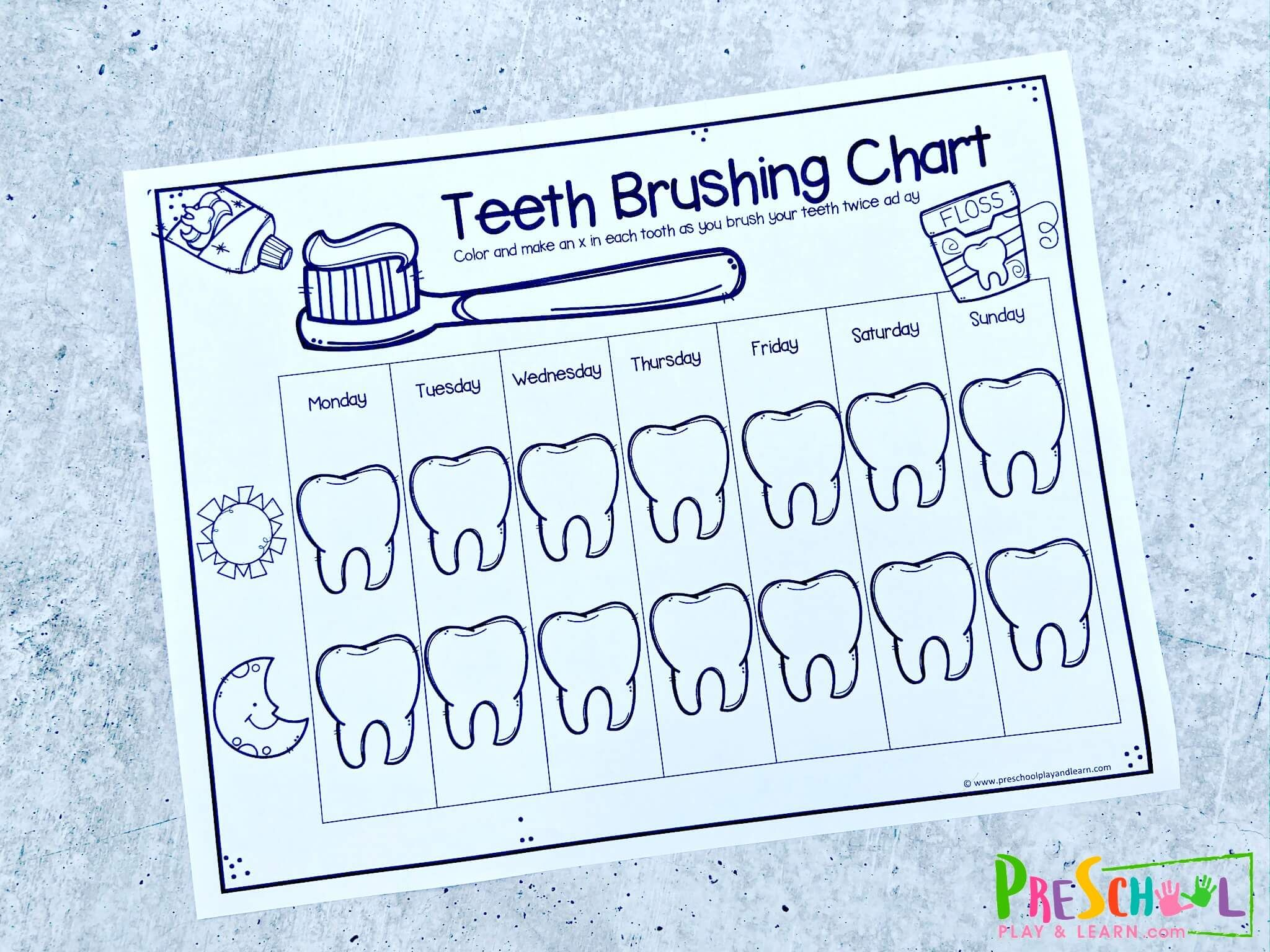 Super Cute Tooth Brushing Reward Chart For Toddler