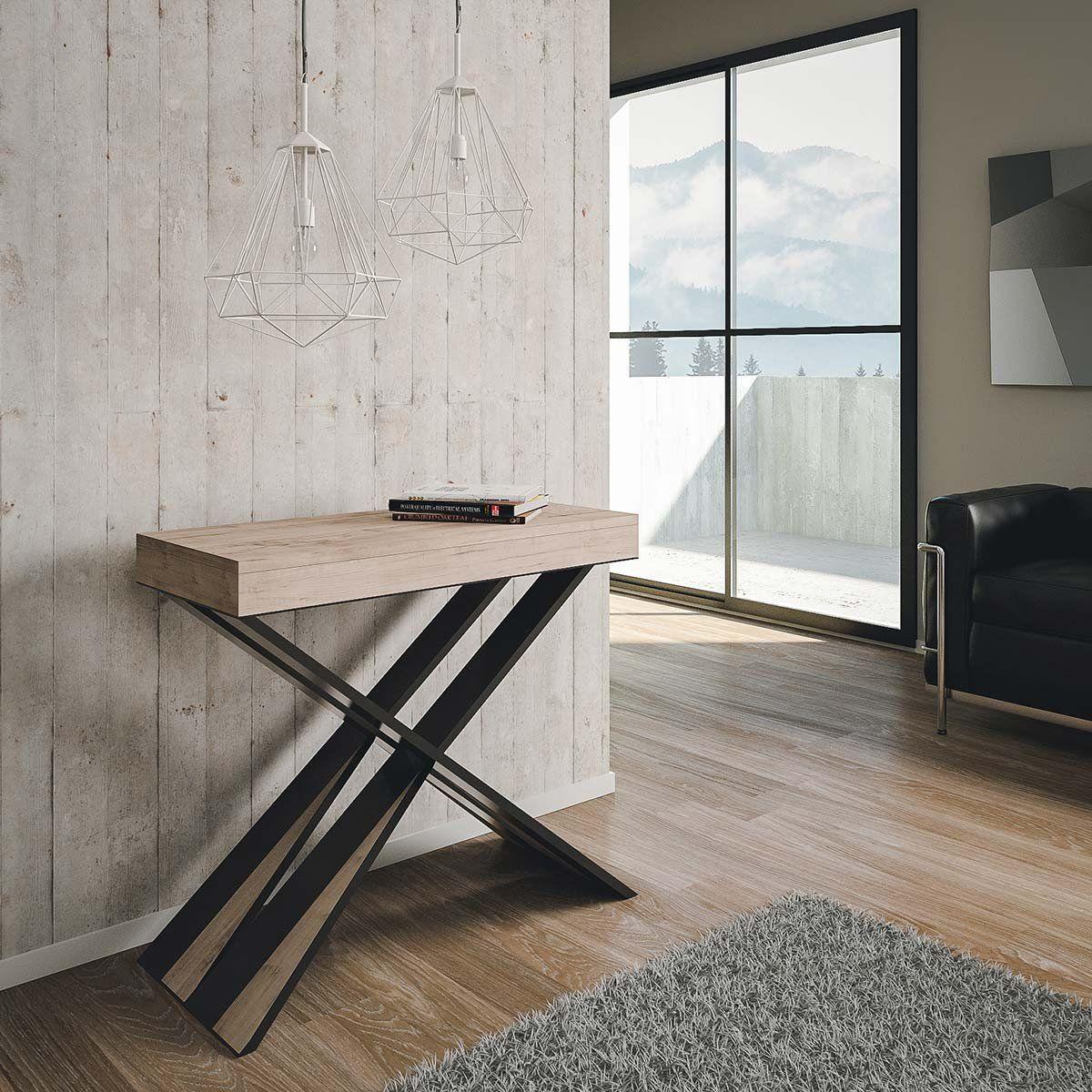 738 Group Design Diago Table Console Extensible Moderne En Chene Naturel Fabriquee En Italie Pour 14 Console Extensible Table Console Extensible Console